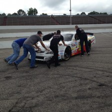 Crew pushing the car down pit road (Myrtle Beach June 23)